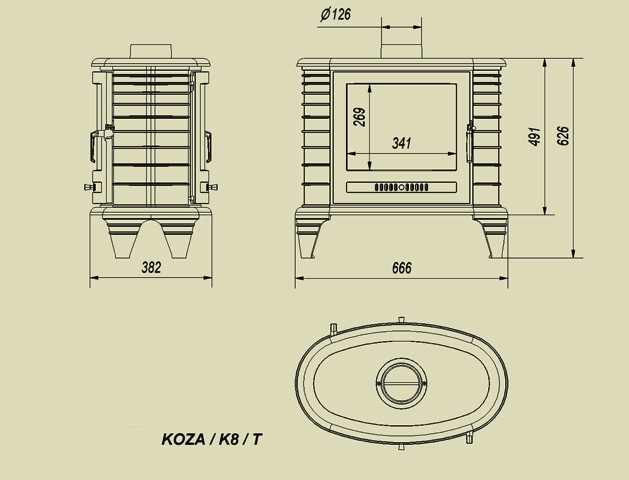 Габаритные размеры Kratki Koza K8 двухстронная