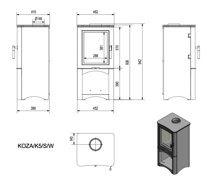 Габаритные размеры Kratki Koza K5 S/W