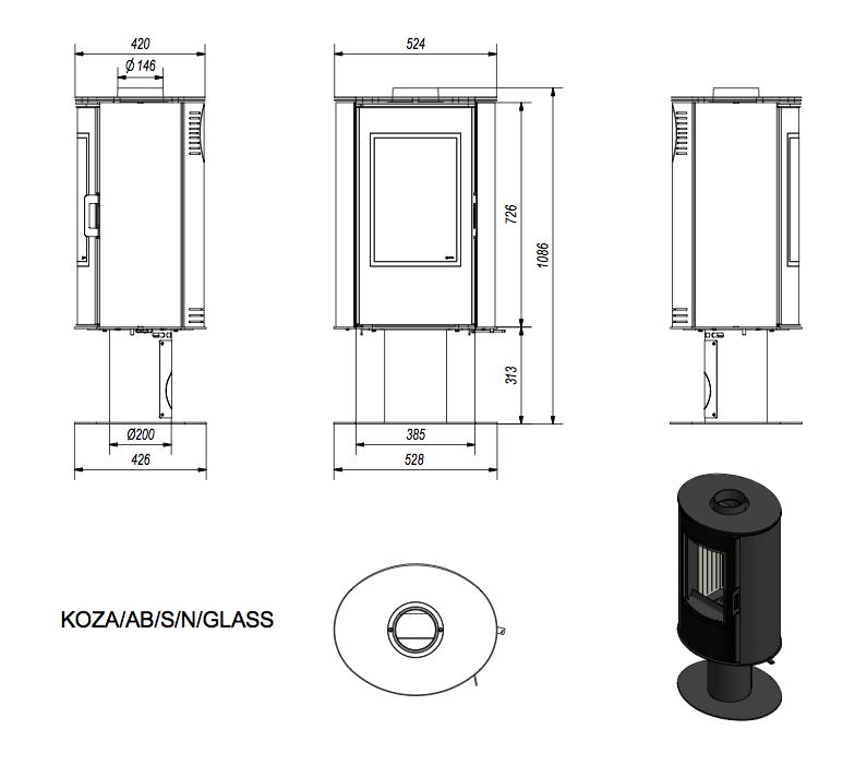 Габаритные размеры Kratki Koza AB S/N Class