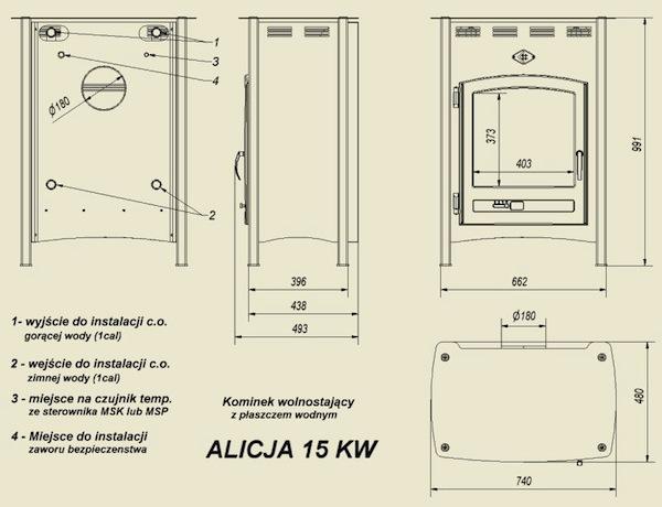 Габаритные размеры Kratki Koza ALICJA 15