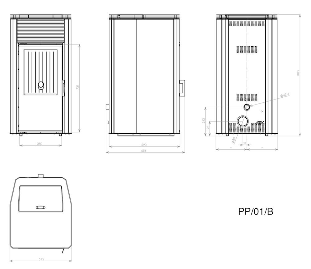 Габаритные размеры Kratki Koza PP01 B